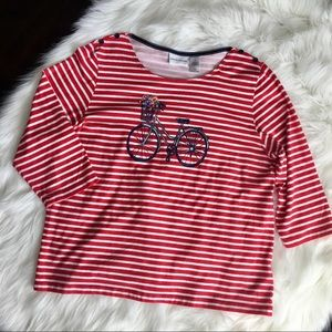 Alfred Dunner Striped Cotton Blend Top